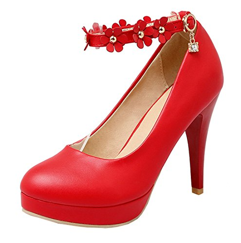 YE Damen 10cm High Heels Stiletto Pumps mit Knöchelriemchen Blumen und Schnalle Rund geschlossen Süß Elegant Party Schuhe Rot