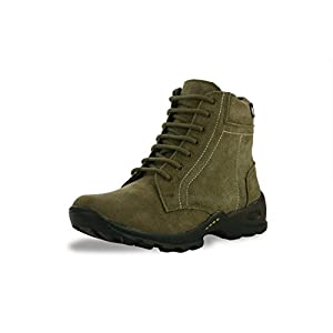 BACCA BUCCI MEN OLIVE GENUINE LEATHER BOOTS