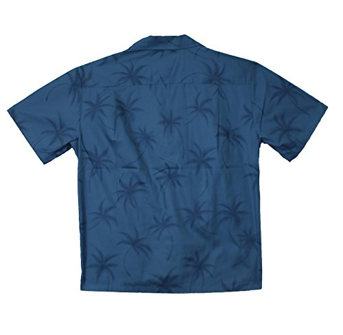KY's   Original Hawaiihemd   Herren   S - 6XL   Kurzarm   Front-Tasche   Hawaii-Print   Palmen Blätter   mehrere Farben Türkisblau