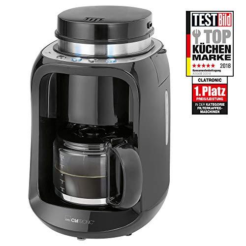 Clatronic KA 3701 Kaffeemaschine mit Edelstahl-Scheibenmahlwerk, 2in1 Kaffeemahlen und Brühen, 1-6 Tassen, 4 Bedientasten, schwarz