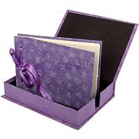 Anglesey Paper Company, Album portafoto con scatola, 24 pagine di carta lokta, Viola (Violett / fliederfarben), 23,5 cm x 17,5 cm x 4 cm