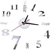 Mcitymall77-Reloj de Pared 3D con Números Adhesivos DIY Bricolaje Moderno  Decoración Adorno para Hogar 5ea3df1c63d2