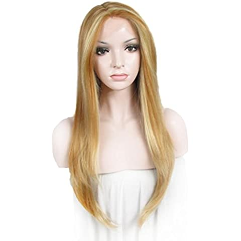 Imstyle encaje sintético peluca de aspecto Natural Angelina Jolie peinados color brillante sedoso recto textura