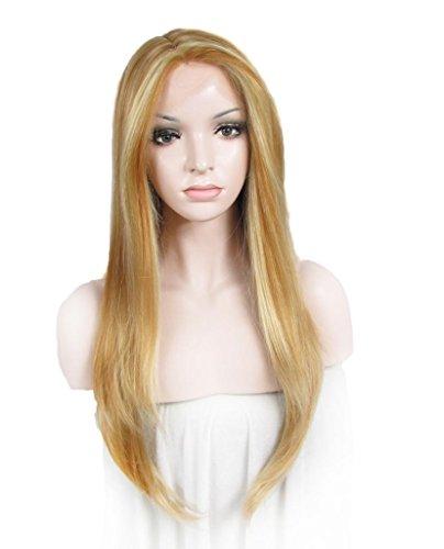 Angelina Jolie Style Blond miel Couleur droite résistant à la chaleur Soie synthétique Top Lace Front Perruques
