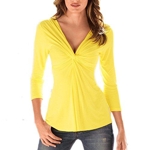 Petite V-ausschnitt Bluse (Damen T-shirt Schlank V-Ausschnitt Lange Ärmel Volltonfarbe Tops Oberteile Petite Frauen Blouse (EU 38(XL), Gelb))