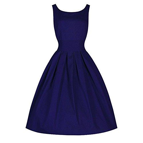 feiXIANG Vintage Style kleider Damen urlaub Swing Kleid Retro Abendkleid Ärmelloses Ballkleid Damen Einfarbig Kleid Partykleid Mode A-Linie Rock Abendmode mit Rundhalsausschnitt (2XL, Blau)