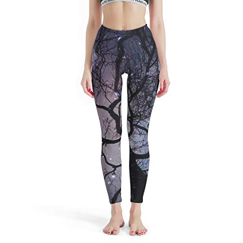NeiBangM Übergrößen Yoga Leggings Mädchen Galaxy Tree Moon Sporthose für Gym White s