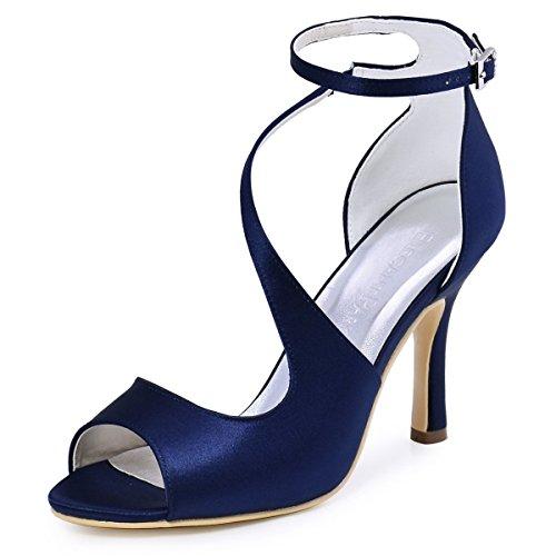 ElegantPark HP1505 Escarpins Femme Bout Ouvert Diamant Btide Cheville Boucle Sandales Chaussures de mariee Bal Satin Bleu marine