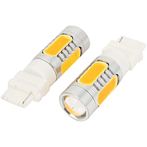 2 PC 3156 Amarillo lente 7.5W LED del coche de frenado de señal de luz de la lámpara de 12V DC