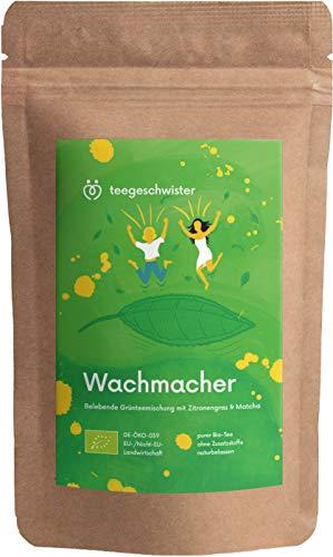 BIO Grüner Wachmacher | Koffein aus Matcha-Pulver Grüner-Tee und Mate-Tee | Morgen-Tee als Kaffeeersatz | teegeschwister | 100g - Pulver-grüner Tee