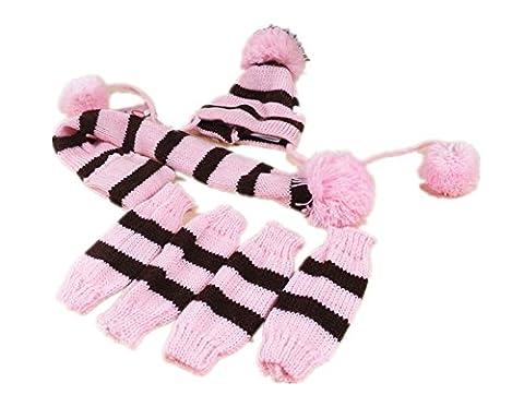 Fully 3pcs/Kit Bonnet en tricot pour animal écharpe collier rigide Jambières Chausse Pom Pom Vêtements d'hiver
