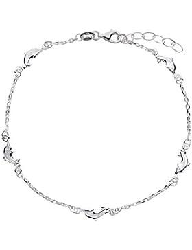 SL-Silver Fusskette Fusskettchen Delfine 925 Länge 23-25 cm Sterling Silber