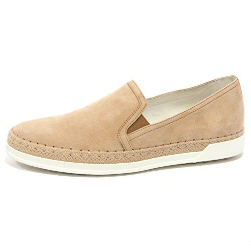 B1527 scarpa slip on donna TODS GOMMA RAFIA PANTOFOLA suede beige shoe woman nudo scuro