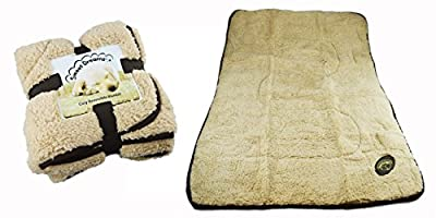 Dog Blanket Puppy Cosy Reversible Comfort Warm Fleece Quilt Snuggle Beige Brown from RSW