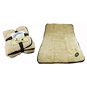 Dog-Blanket-Puppy-Cosy-Reversible-Comfort-Warm-Fleece-Quilt-Snuggle-Beige-Brown