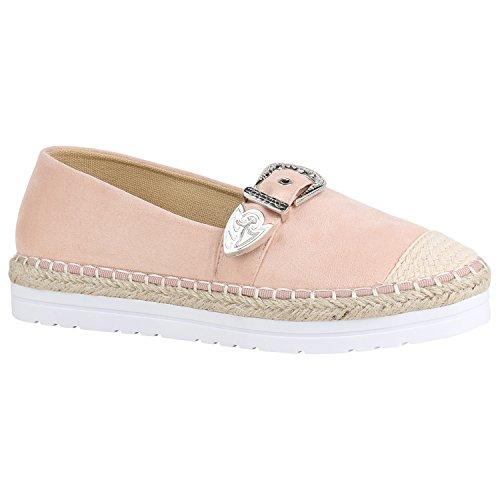 Modische Damen Schuhe Bast Slipper Glitzer Muster Espadrilles 156006 Rosa Schnallen 40 Flandell