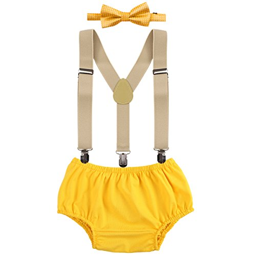 (OBEEII Baby 1. / 2. Geburtstag Outfit Neugeborenen Kinder Bloomer Shorts + Fliege + Clip-on Hosenträger 3pcs Bekleidungssets für Foto-Shooting Kostüm Gelb)