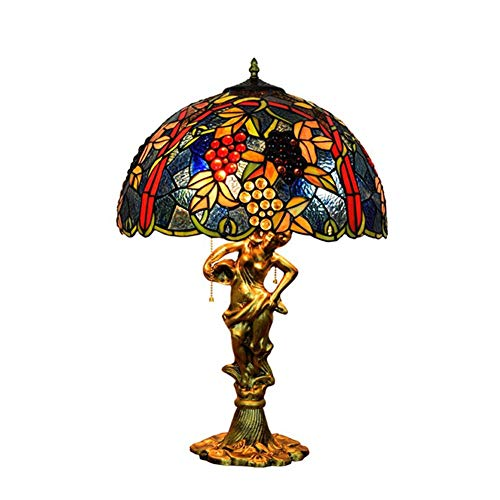 Light-GYH Tiffany-Stil große Tischlampe, handgemachte Traube Glasmalerei Schatten Schlafzimmer Nachttischlampe mit Zugkette Schalter für Wohnzimmer Schreibtisch E27 MAX 40W * 1