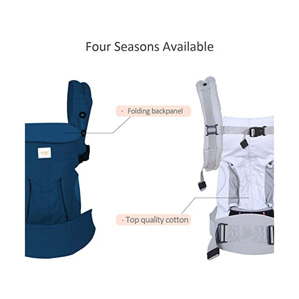 SONARIN Premium Convertible Baby Carrier with Storage Bag,Sunscreen Hood,Ergonomic,for Newborn to Toddler(0-48 Months),Head Support,Maximum Load 20kg,Front Facing Baby Carrier(Blue) SONARIN Applicable age and Weight:0-48months of baby, the maximum load:20KG, and adjustable the waist size can be up to 55.2 inches (about 140 cm). Material:designers carefully selected soft and delicate 100% Cotton fabric.The inner is made of skin-friendly breathable material,Soft machine wash,do not fade,ensure the comfort and breathability,high strength,safe and no deformation,to the baby comfortable and safe experience. Description:Patented design of the auxiliary spine micro-C structure and leg opening design,natural M-type sitting.Adjustable back panel that grows with baby and offers head and neck support with sleeping hood that provides UV50+ sun protection. 3