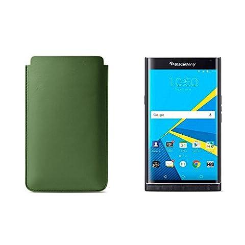 Lucrin - Housse pour BlackBerry Priv - Vert Clair - Cuir Lisse