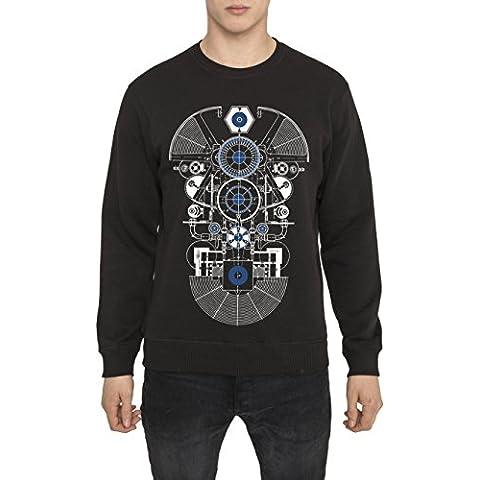 Sudaderas de Algodón para Hombre - Sudadera Negra con Estampada - AMATEUR Cool Fashion Graphic 3D Print Sweatshirt, Cuello redondo, Manga larga, Ropa Moda Designer para Hombres S M L XL