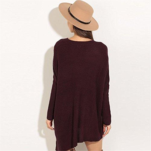 Moda con Scollo a V Asimmetrico Fondo Irregolare Zipper laterali spacchi spacco Sweater Maglione Maglia Jumper Top Tunica Dress Vestito Abito Borgogna