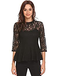 Zeagoo Women's Casual Lace Crochet Blouse 3/4 Sleeve Peplum Tops Sheer Floral Frill Shirts