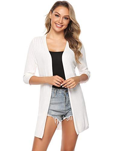 Sykooria Cardigan Longue légere Loose-Fit pour Femme Cardigan confortable en tricot, Blanc 3, M
