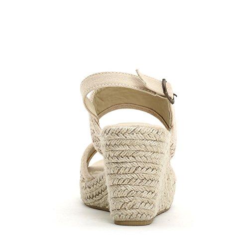 PRENDIMI by Scarpe&Scarpe - Schuhe mit Keilabsatz und Macramè-Textil Beige