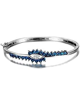 Ujewelry Armreif, 925erSterlingsilber, künstlicher blauer Saphir, farbloser Zirkonia, Armreif