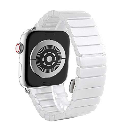 HSKB Armband für Apple Watch Serie 4 44mm Smart Watch, Luxury Keramik Schmetterling Armbänder für Sport und Ersatz Klassisch Armband für Frauen Mädchen (Weiß)