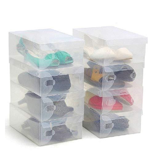 Pack 10 Cajas Guardar Zapatos Plástico Corrugado Transparente por Kurtzy - Plegables Organizador Zapatos Impermeable Cajas - Caben Zapatos Pequeños, Medianos - Ideal para Viajes