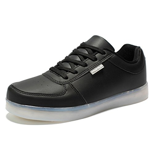 DoGeek Unisex/Uomo Scarpe LED Luminosi Sneakers Scarpe con Le Luci Accendono Scarpe Uomo Sportive Nero1