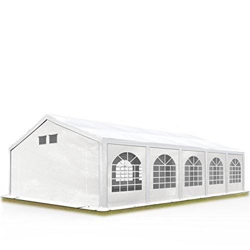 TOOLPORT Partyzelt Festzelt 5x10 m in Weiß Professional 300 g/m² PE Plane Wasserdicht UV Schutz mit BODENRAHMEN Gartenzelt (12 10 Zelt X)