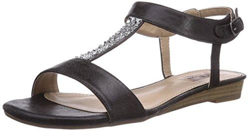 s.Oliver 28110 Damen T-Spangen Sandalen mit Keilabsatz Schwarz (Black 001)