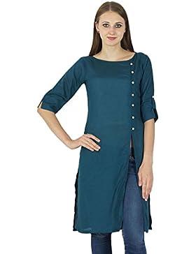 Diseñador indio de Bollywood Kurta algodón de las mujeres Solid Casual Kurti Top túnica del vestido