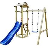 Festnight Spielturm Kletterturm Spielplatz mit Rutsche Leiter Schaukel 237 x 168 x 218cm Kiefernholz