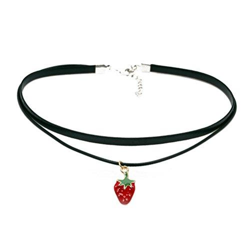 Henna Strawberry (Rose, Hündchen, Erdbeere, Schädel Anhänger Choker Halskette Gothic Für Mädchen und Jungen (Erdbeere))