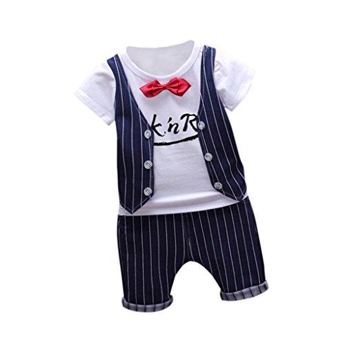 der Baby Boy Mode T-Shirt Tops und Hosen Outfits Kleidung (110, Navy) (Top-boys Kostüme)