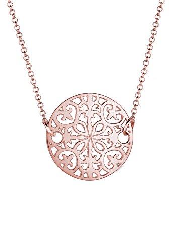 Elli Damen Schmuck Halskette Kette mit Anhänger Ornament Cut Out Orientalisch Silber 925 Rosé Vergoldet Länge 45 cm