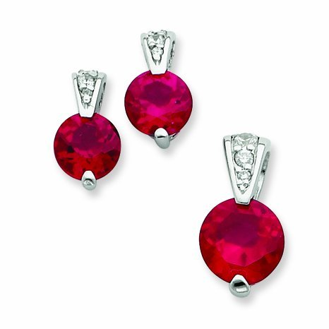 PriceRock Sterling Silver Red Cz Earrings And Pendant Set