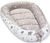 Grand Baby-Nest Cocon pour bébé Réducteur de lit bébé de 0 à 8 mois Réversible Nid Pod Cocoon 100% Coton 90cm x 50cm (Grey...