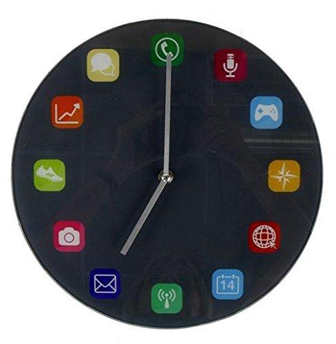 Wanduhr App-Design aus Glas 30cm Bürouhr Jugendzimmer moderner Stil
