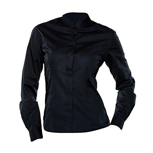 Bargear® - camicia collo coreana da cameriera - donna (it 44) (nero)