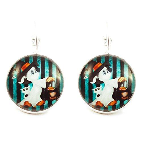 Kreative Perlen-Ohrringe Cabochon rund Casper Halloween-Weiß