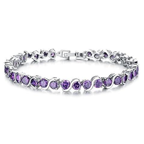 ate Love élégant élégant bracelet de tennis de cristal Elements oxyde de zirconium plaqué platine Mesdames Bling Bijoux