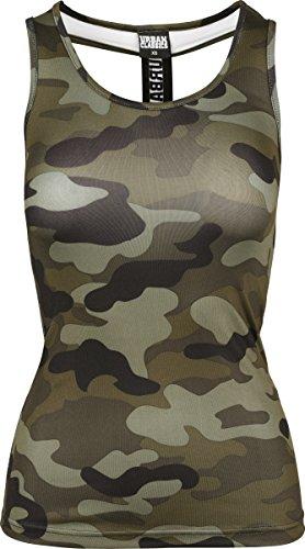 Urban Classics Damen T-Shirt Ladies Camo Top, Mehrfarbig (Wood Camo 396), X-Small