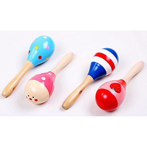 Hemore 4 Stück Maracas Rasseln Holz Shaker Percussion Kid Baby musikalische Spielzeug gefallen