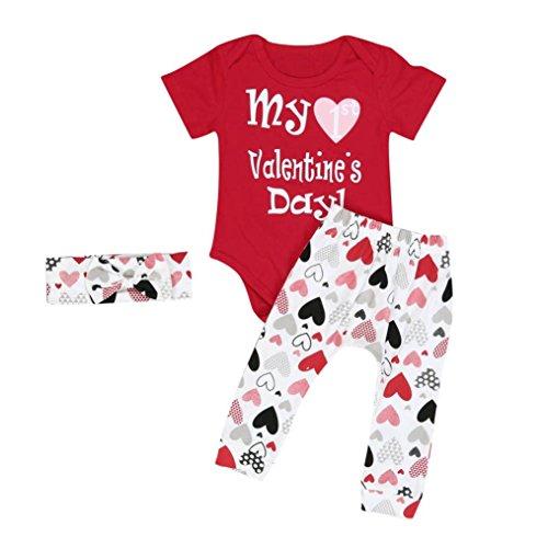 Bekleidung Longra Säugling Baby Junge Mädchen Kleidung Strampler+ Hosen + Stirnband Valentinstag Baby Kleidung Set Outfits (0-24 Monaten) (70CM 6 Monate, (Für Kleinkind Valentinstag Outfit)