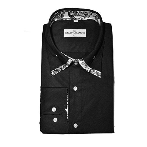 Herren Hemd, 100% Baumwolle, regulŠre Passform, bedruckt mit floralem Paisley-Muster, S M L XL 2XL 3XL 4XL, Kragenweite 37Ð48 cm Black White DC